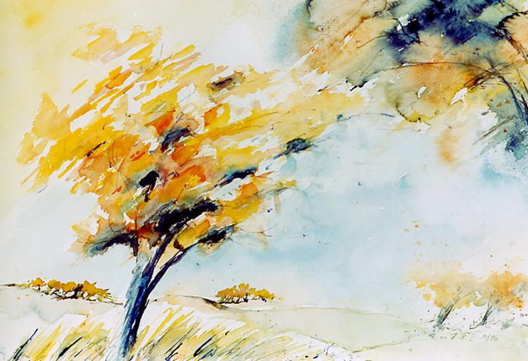 Herbststurm - Aquarell © Katharina Hansen-Gluschitz