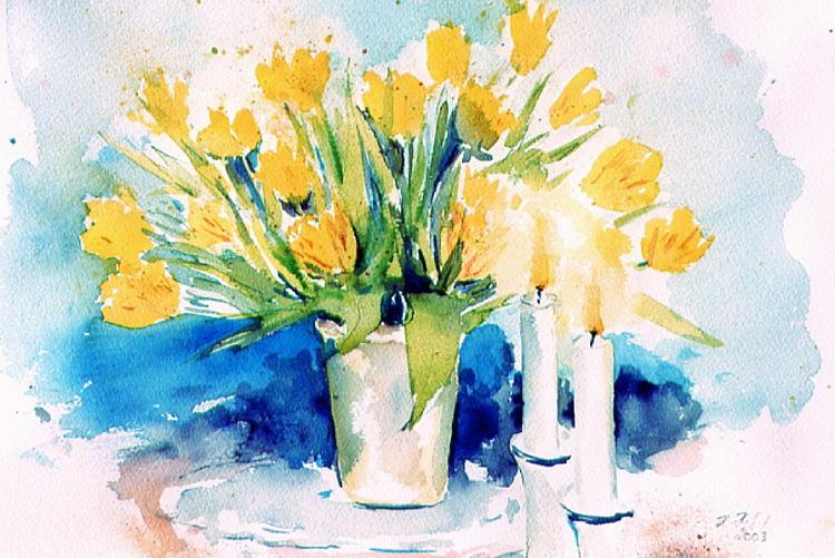 Tulpenstilleben mit Kerzen - Aquarell © Katharina Hansen-Gluschitz