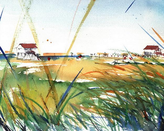 Pfahlbauten am Strand - Aquarell © Katharina Hansen-Gluschitz