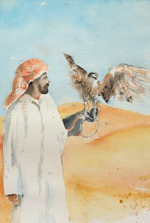 Araber und Falke - Aquarell © Katharina Hansen-Gluschitz
