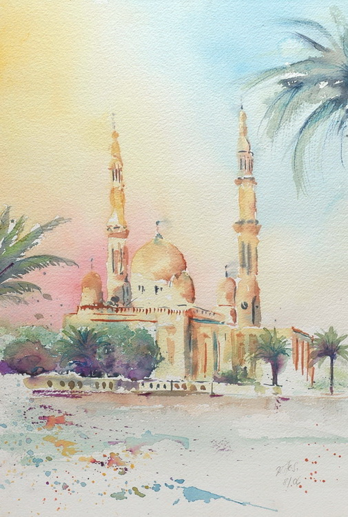 Jumeirah Moschee in Dubai - Aquarell © Katharina Hansen-Gluschitz