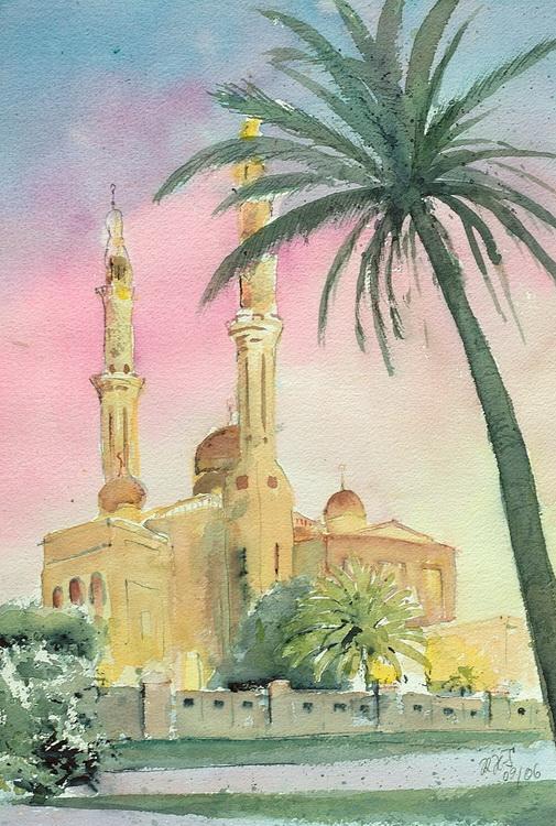 Abendstimmung an der Moschee - Aquarell © Katharina Hansen-Gluschitz