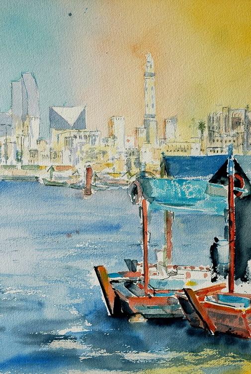 Dubai Creek - Aquarell © Katharina Hansen-Gluschitz