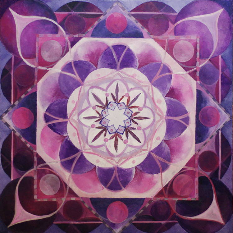 Mandala Lila - Kosmogramm - Acryl auf Leinwand © Katharina Hansen-Gluschitz