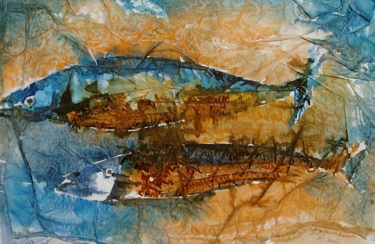 Makrelenhochzeit - Collage / Aquarell © Katharina Hansen-Gluschitz