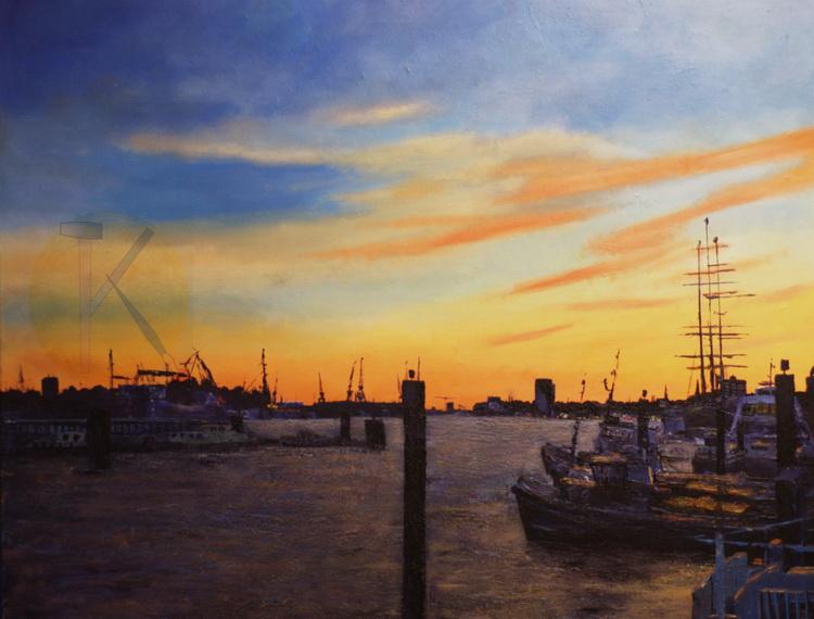 Wenn es Abend wird im Hafen - Acryl auf Leinwand - © Katharina Hansen-Gluschitz