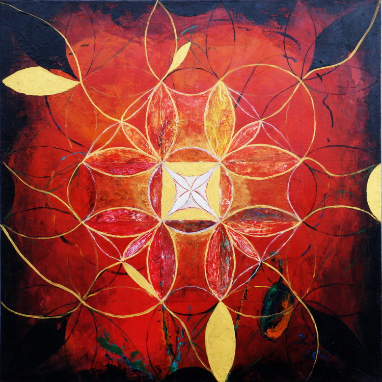 Mandala in Rot - Acryl auf Leinwand © Katharina Hansen-Gluschitz