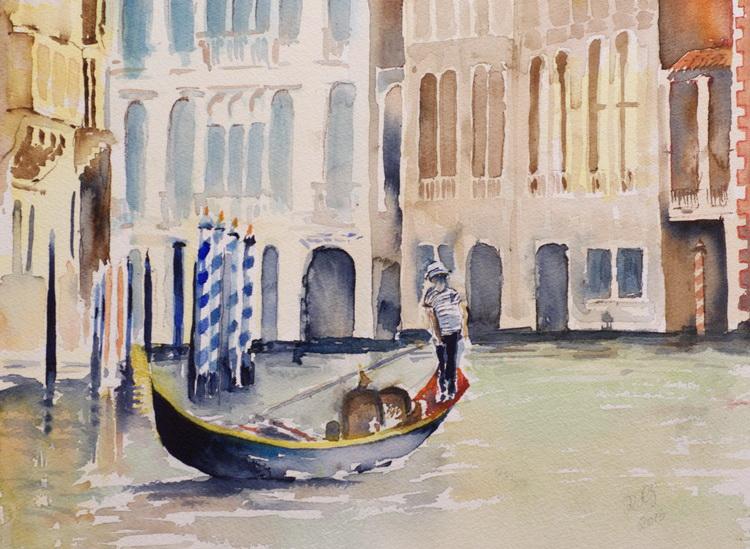 Schippern auf dem Canale Grande - Aquarell © Katharina Hansen-Gluschitz