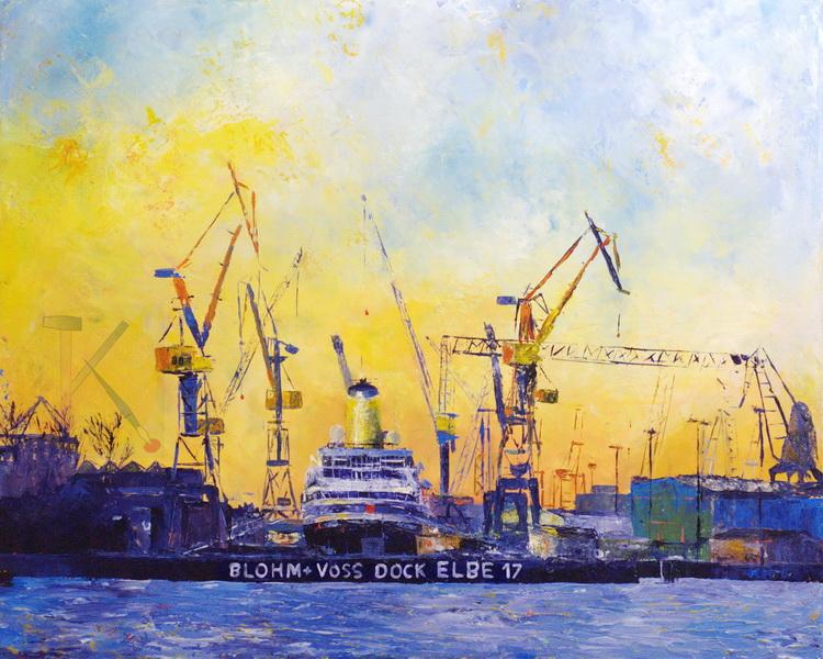 Dock Elbe 17 - Acryl auf Leinwand - © Katharina Hansen-Gluschitz