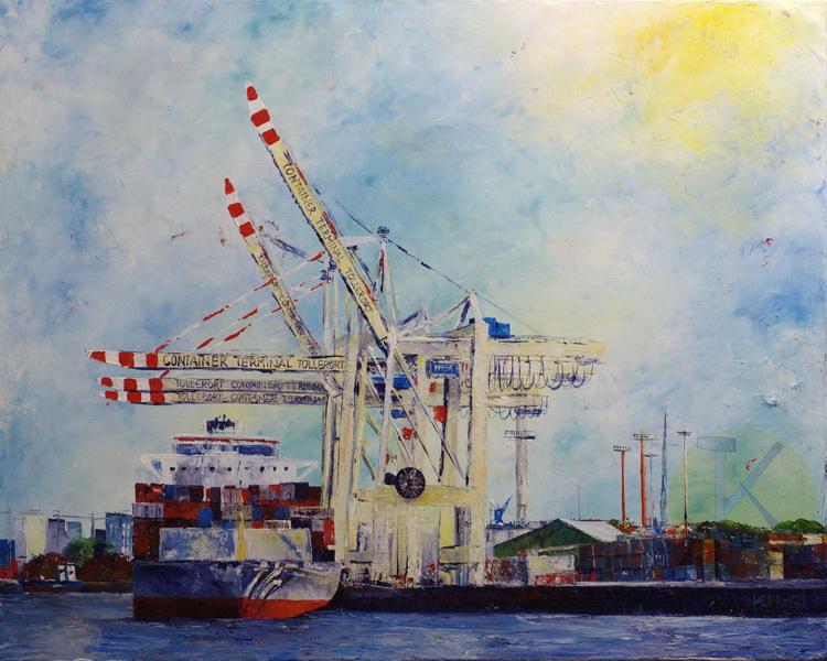 Container Terminal Tollerort - Acryl auf Leinwand - © Katharina Hansen-Gluschitz