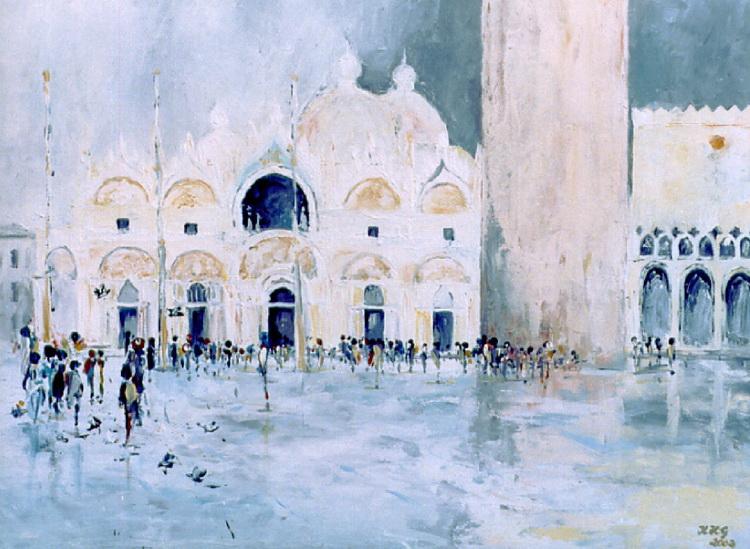 San Marco nach dem Regen - Acryl auf Leinwand © Katharina Hansen-Gluschitz