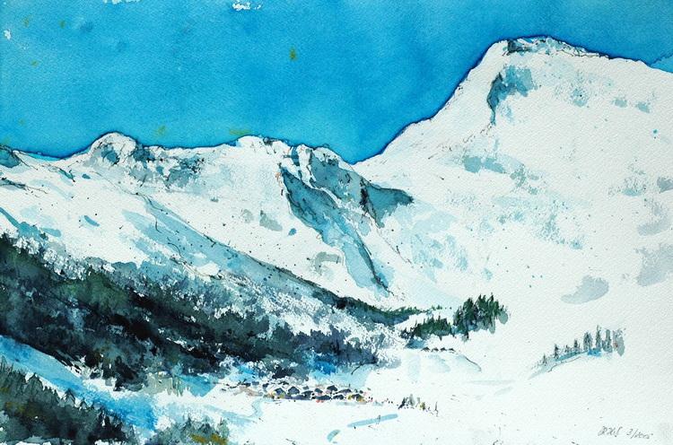 Winterlandschaft im Sarntal - Aquarell © Katharina Hansen-Gluschitz