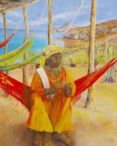 Handwerkskunst aus La Guajira - Acryl auf Leinwand © Katharina Hansen-Gluschitz