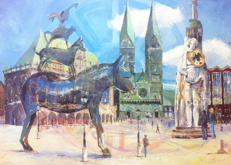 Die Bremer Stadtmusikanten - Deutsche Stadtansichten - Acryl auf Leinwand © Katharina Hansen-Gluschitz