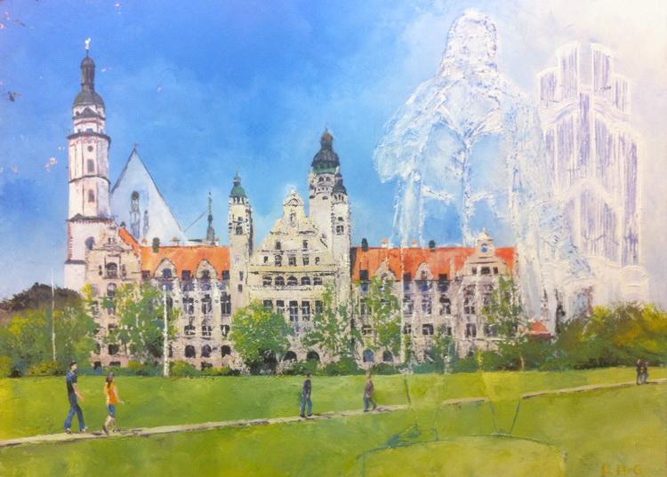 Leipzig - Deutsche Stadtansichten - Acryl auf Leinwand © Katharina Hansen-Gluschitz