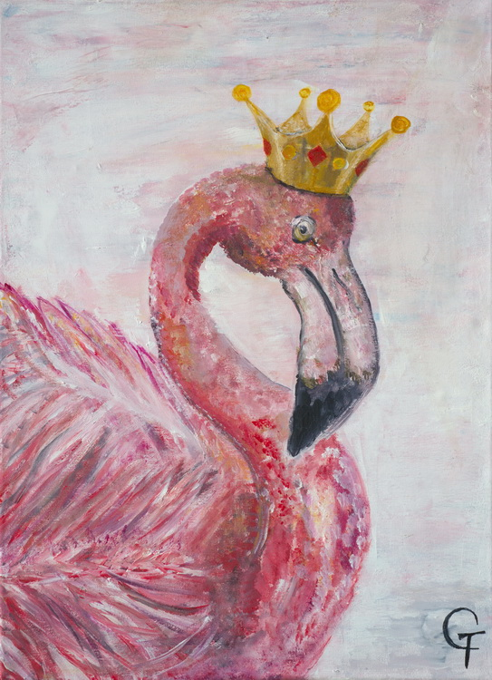 Flamingo - Acryl auf Leinwand - Schülerarbeit - Foto: © Katharina Hansen-Gluschitz