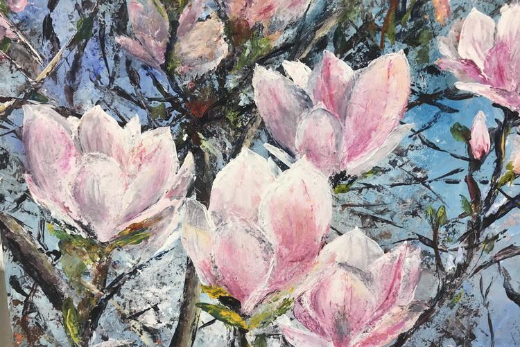 Magnolien - Acryl auf Papier © Katharina Hansen-Gluschitz