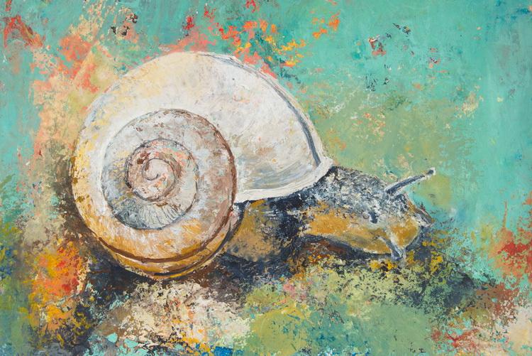 Kleine Schnecke - Acryl auf Papier © Katharina Hansen-Gluschitz