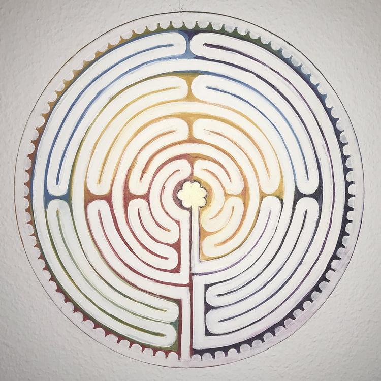 Labyrinth der Chakren - Chartres - Kosmogramm - Acryl auf Leinwand © Katharina Hansen-Gluschitz