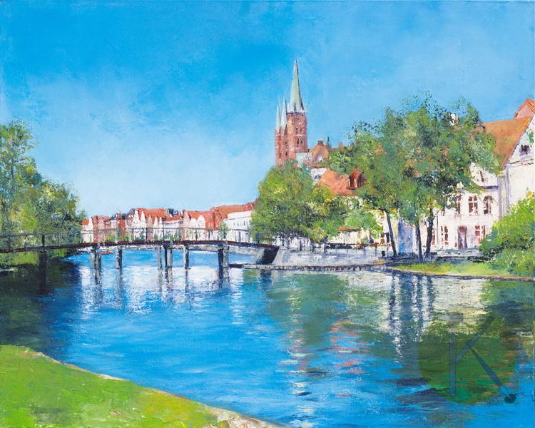 Der Malerwinkel - Lübeck - Acryl auf Leinwand © Katharina Hansen-Gluschitz