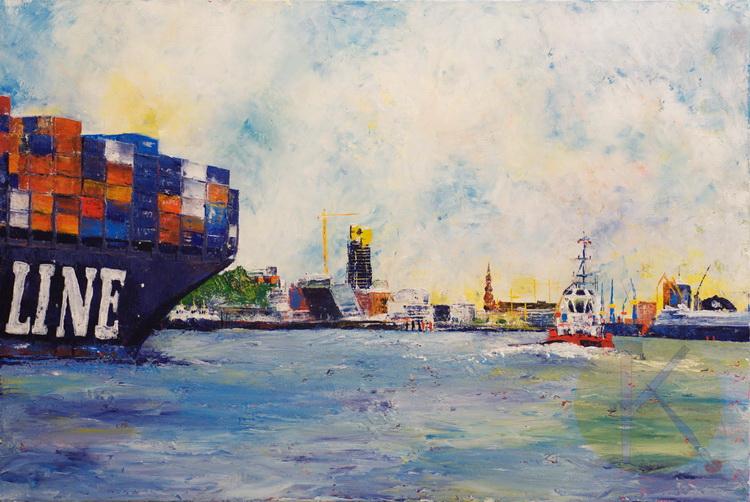 Kommt ein Schiff geladen - Acryl auf Leinwand - © Katharina Hansen-Gluschitz