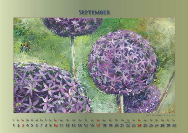 Allium - Blumen in Acryl - Kalender © Katharina Hansen-Gluschitz