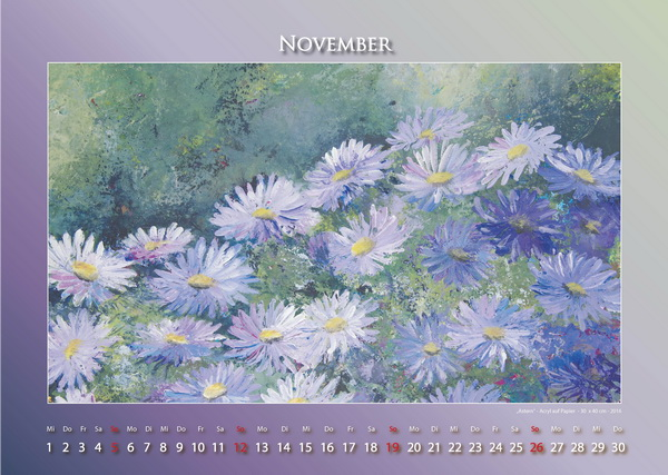 Astern - Blumen in Acryl - Kalender © Katharina Hansen-Gluschitz
