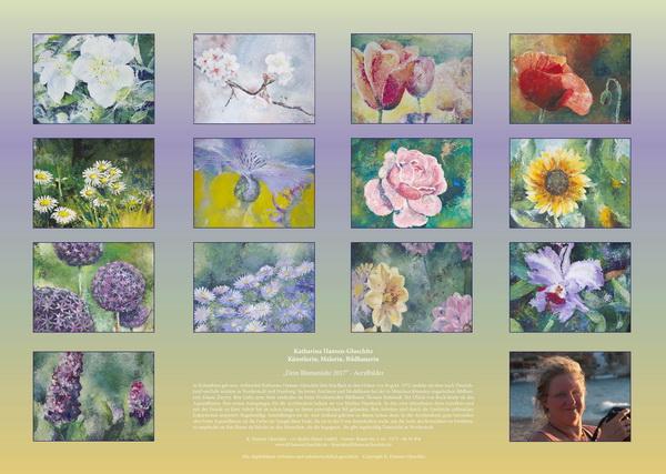 Blumen in Acryl - Kalender © Katharina Hansen-Gluschitz