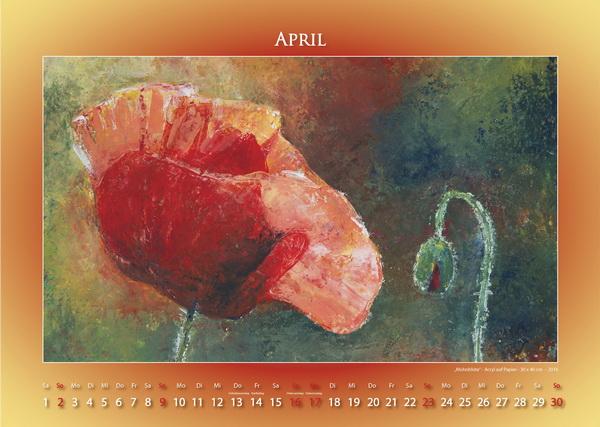 Klatschmohn - Blumen in Acryl - Kalender © Katharina Hansen-Gluschitz