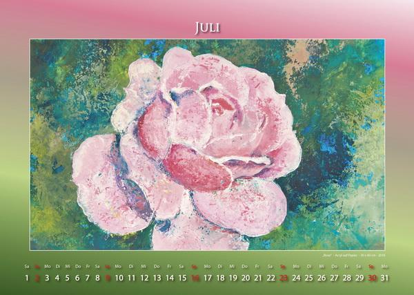Rose - Blumen in Acryl - Kalender © Katharina Hansen-Gluschitz