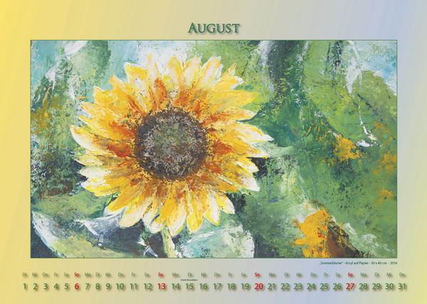 Sonnenblume - Blumen in Acryl - Kalender © Katharina Hansen-Gluschitz