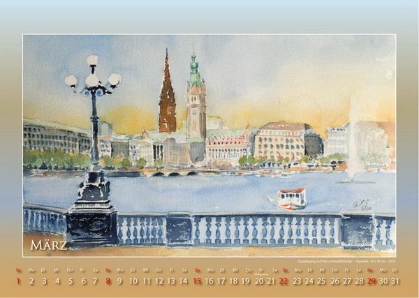 Spaziergang auf der Lombardsbrücke - Mein Hamburg - Kalender © Katharina Hansen-Gluschitz
