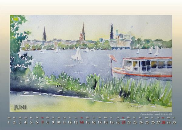 Pause an der Alster - Mein Hamburg - Kalender © Katharina Hansen-Gluschitz