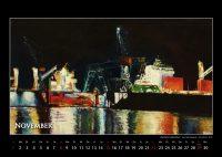 Nächtliches Hafentreiben - Hamburger Hafen - Kalender © Katharina Hansen-Gluschitz