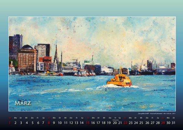 Das gelbe Schiff - Hamburger Hafen - Kalender © Katharina Hansen-Gluschitz