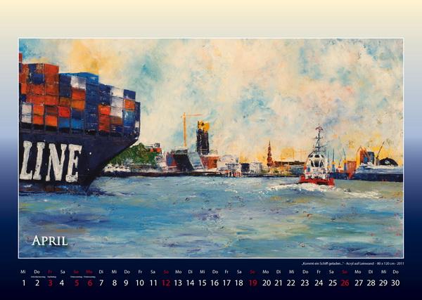 Kommt ein Schiff geladen - Hamburger Hafen - Kalender © Katharina Hansen-Gluschitz