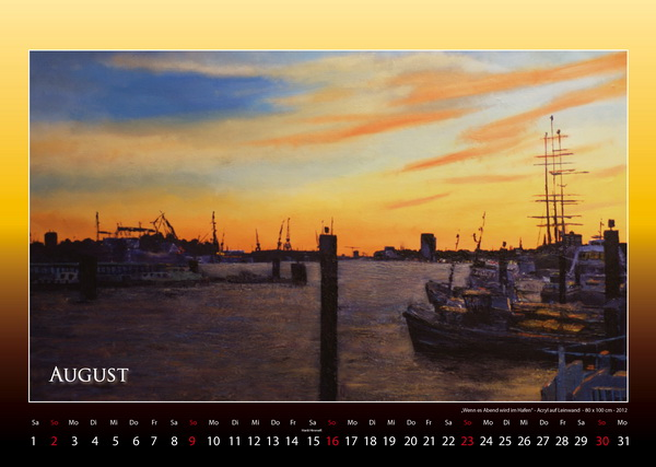 Wenn es Abend wird im Hafen - Hamburger Hafen - Kalender © Katharina Hansen-Gluschitz