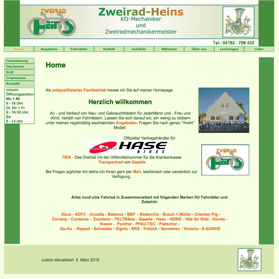 Logo + Webseite - www.Zweirad-Heins.de © Katharina Hansen-Gluschitz