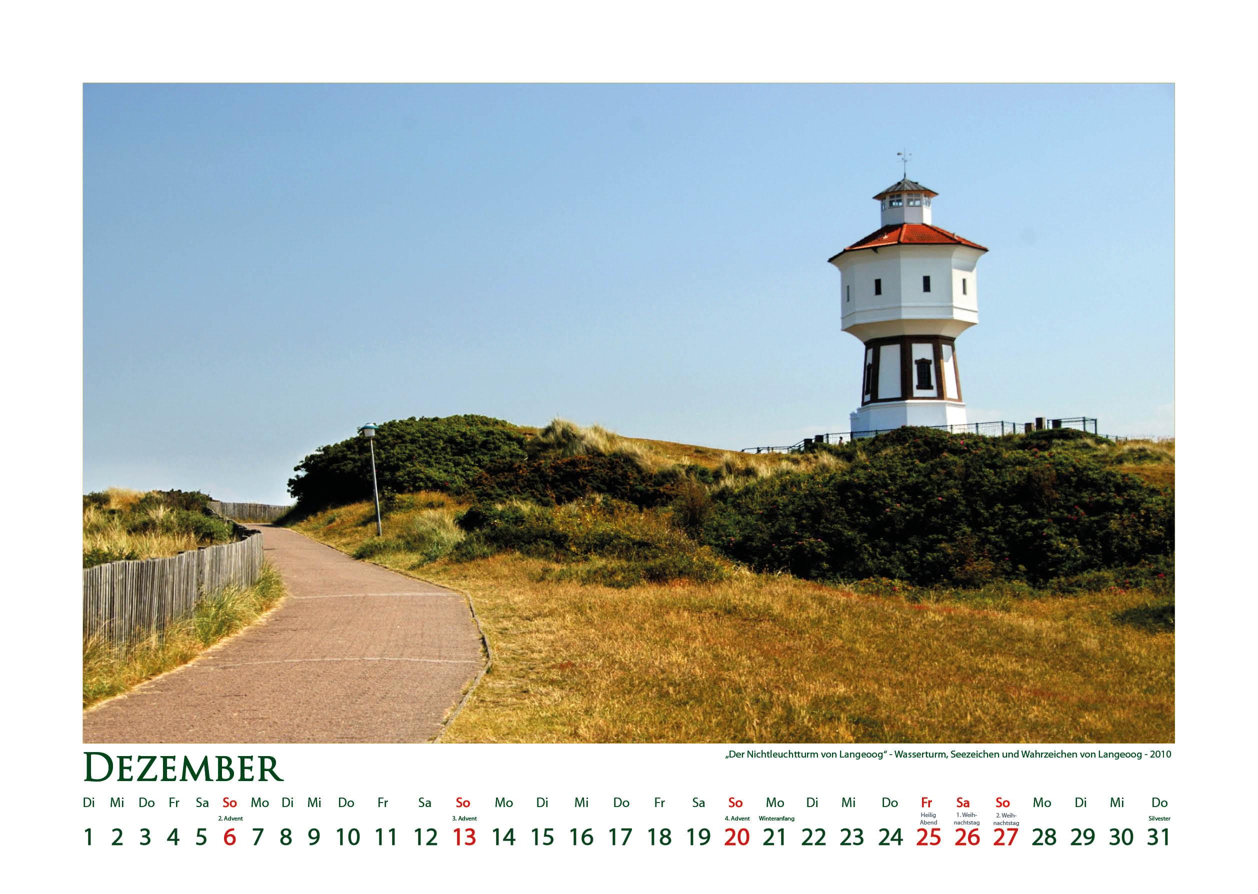 Wasserturm Langeoog - Leuchttürme - Kalender 2020 © Katharina Hansen-Gluschitz
