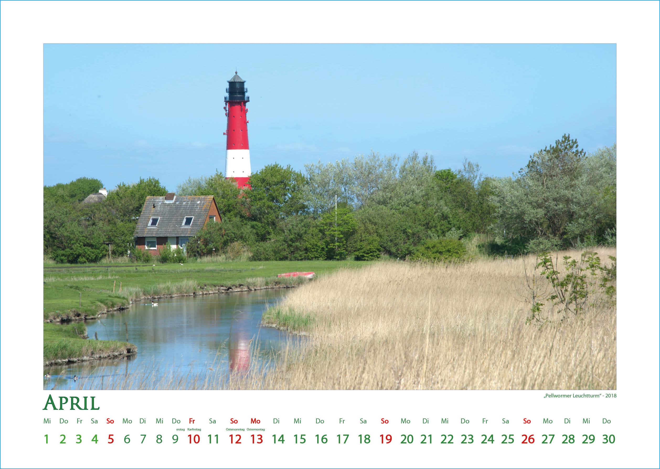 Pellwormer Leuchtturm - Leuchttürme - Kalender 2020 © Katharina Hansen-Gluschitz