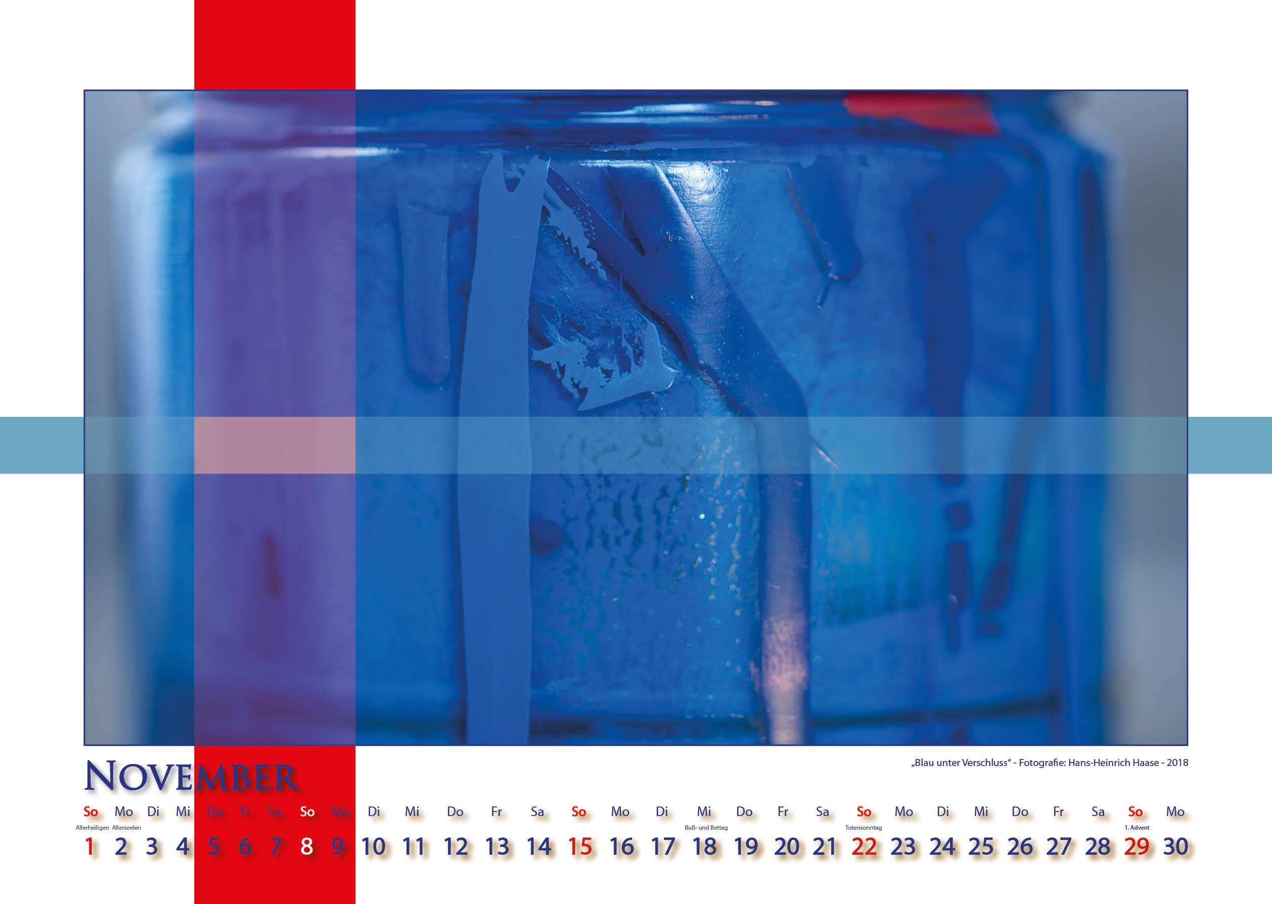 Blau unter Verschluß - Strukturen - Kalender 2020 © Katharina Hansen-Gluschitz