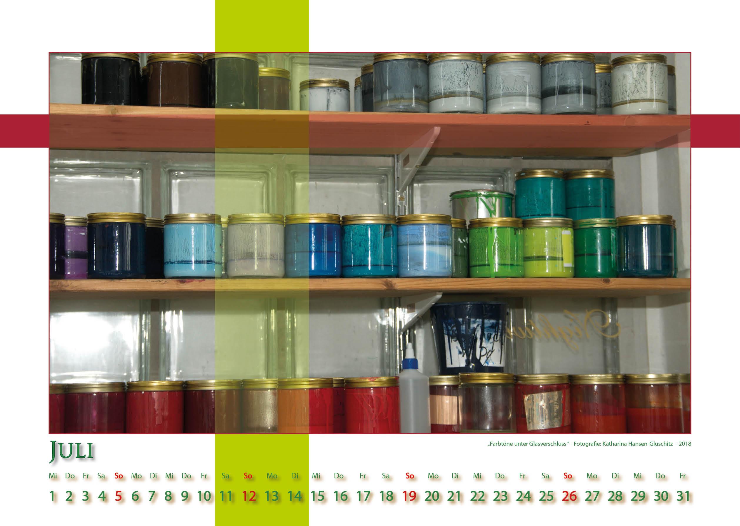 Farbtöne unter Glasverschluß - Strukturen - Kalender 2020 © Katharina Hansen-Gluschitz