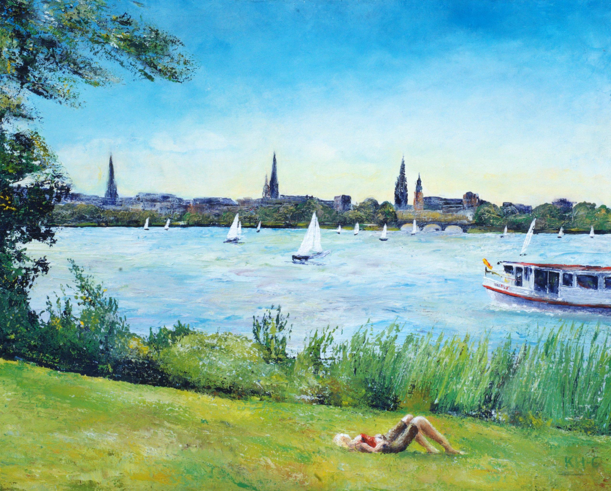 Hamburg - Sommerpause an der Alster - Foto und Bild ©: Katharina Hansen-Gluschitz