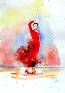Das rote Kleid - Flamenco - Aquarell ©: Katharina Hansen-Gluschitz