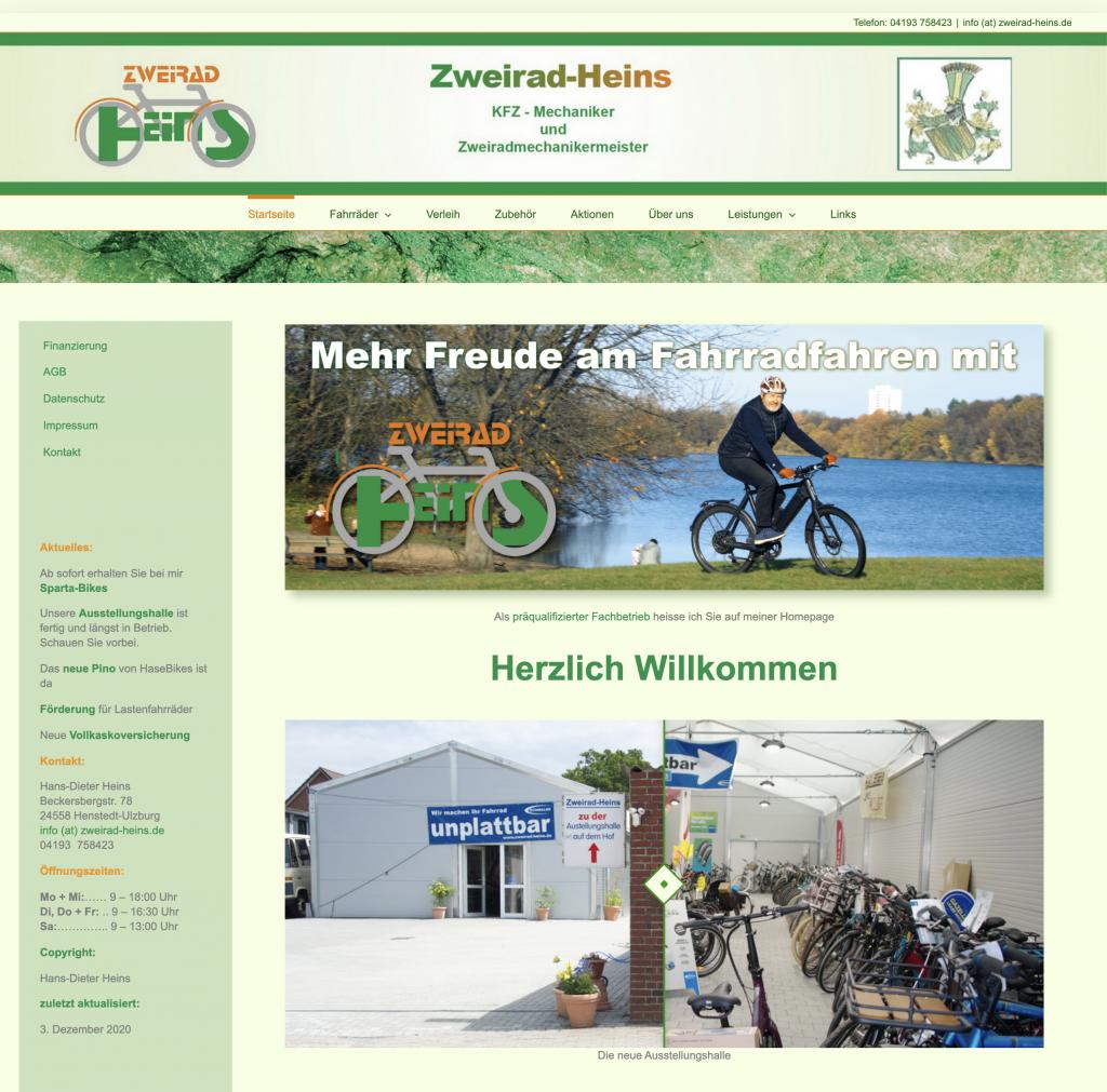 Webseite - www.Zweirad-Heins.de - Design © Katharina Hansen-Gluschitz